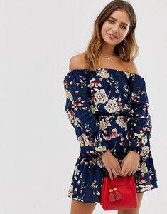 Read more about Parisian off shoulder skater dress in navy floral
