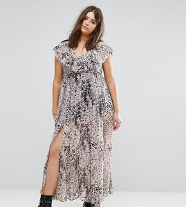 Read more about Religion plus ruffle hem maxi dress in allover animal print - multi