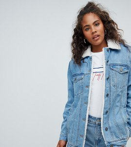 Read more about Asos design tall denim jacket with borg collar in midwash blue - midwash blue
