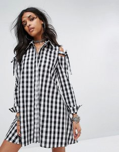 Read more about Glamorous cold shoulder shirt dress in gingham - black
