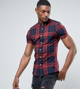 Read more about Asos tall stretch slim check shirt in burgundy - burgundy
