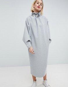 Read more about Asos white embellished detail premium sweat dress - grey marl