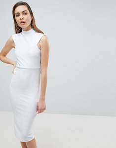 Read more about Asos high neck bandage bodycon midi dress - ivory