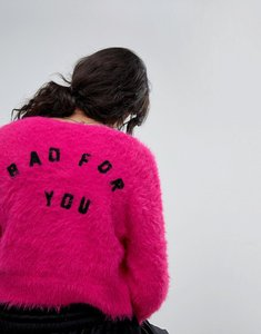 Read more about Lazy oaf shrunken cardigan in fluffy knit with bad for you back - pink