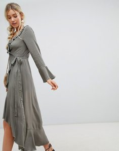 Read more about Lunik ruffle wrap maxi dress - olive