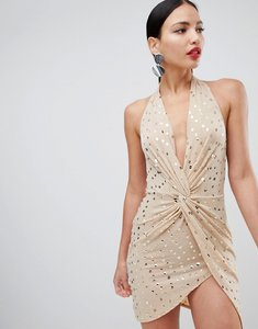 Read more about Flounce london sequin mini dress with twist front in nude - nude gold