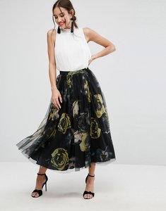 Read more about Asos tulle prom skirt in floral print - multi