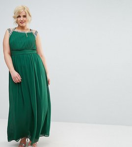 Read more about Tfnc plus wedding embellished back maxi dress - forest green
