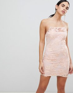 Read more about Ax paris blush floral mesh embroidered bodycon dress - blush