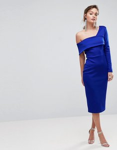 Read more about Asos one sleeve fold front midi bodycon dress - cobalt blue