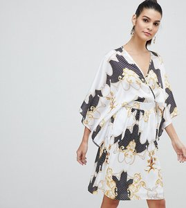 Read more about Flounce london wrap front satin midi dress with kimono sleeve in print - mono multi