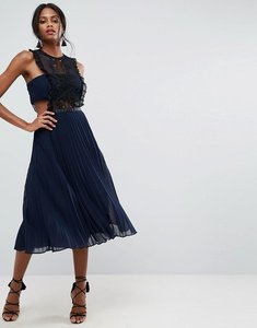 Read more about Asos lace pinafore pleated midi dress - navy
