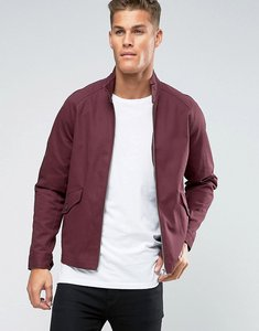 Read more about Asos harrington jacket with funnel neck in burgundy - burgundy