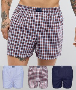 Read more about Polo ralph lauren 3 pack woven boxers in stripe check plain in blue red navy - blue red navy