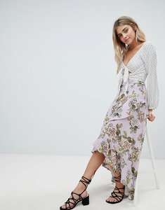 Read more about Missguided chiffon floral midi skirt - lilac floral