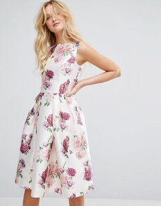 Read more about Chi chi london satin midi dress in floral - multi