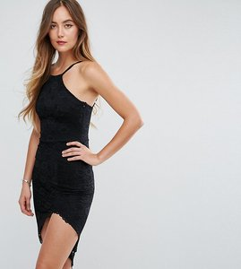 Read more about City goddess tall asymmetric hem halterneck dress - black