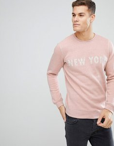 Read more about Solid sweatshirt in pink marl with new york print - pink