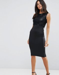 Read more about Ax paris 2 in 1 dress with sequin overlay - black