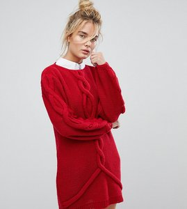 Read more about Oneon hand knitted oversized cable dress - red