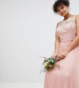 Read more about Chi chi london plus sleeveless maxi dress with premium lace and tulle skirt - vintage rose gold