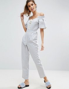 Read more about Asos jumpsuit in cotton stripe with cold shoulder and lace up front detail - blue white stripe