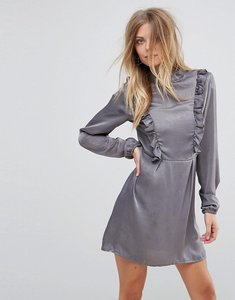 Read more about Ax paris frill detail long sleeve shift dress - grey