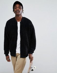 Read more about Asos oversized bomber jacket in borg - black