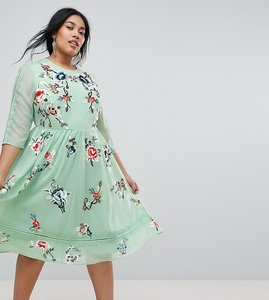 Read more about Asos curve premium midi skater dress with floral embroidery - multi
