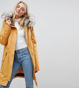 Read more about Asos tall parka with detachable faux fur liner - stone