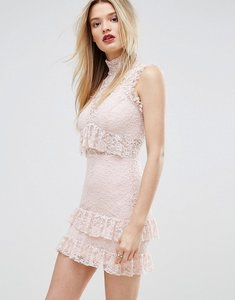 Read more about Missguided high neck ruffle and lace bodycon dress - pink