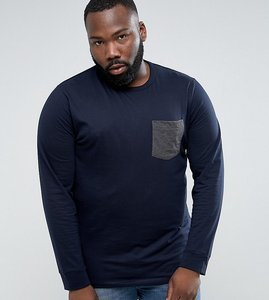 Read more about French connection plus long sleeve t-shirt with contrast pocket - navy