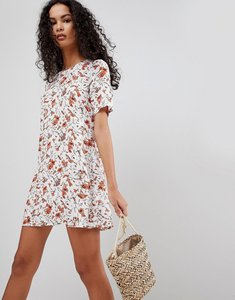 Read more about Glamorous floral print shift dress - white tangerine flow