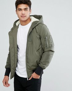 Read more about Asos borg lined hooded bomber jacket with ma1 pocket in khaki - khaki