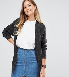 Read more about Asos tall chunky knit cardigan in wool mix - charcoal