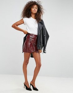 Read more about Asos premium vinyl mini skirt with zip and d ring detail - burgundy
