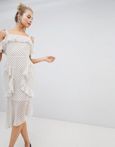 Read more about Asos design soft pencil midi dress in ruffle spot print - cream