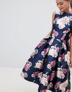 Read more about Chi chi london satin midi prom dress in floral print - multi