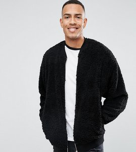 Read more about Asos tall oversized bomber jacket in borg - black