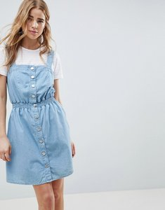 Read more about Miss selfridge pinafore dress in chambray with shirred waist - denim