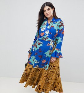 Read more about Asos design curve mix print wrap maxi dress with fluted sleeve - multi