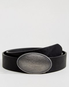 Read more about Asos faux leather wide belt with large vintage buckle in black - black