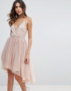 Read more about Asos ballerina mesh sparkle tulle midi dress - mink