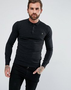 Read more about Farah maidwell slim fit merino knitted polo in grey - dark asphalt 075