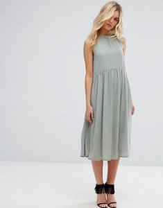 Read more about Y a s high neck midi dress - green