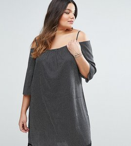 Read more about Diya plus cold shoulder dress with crochet hem in polka dot print - black white