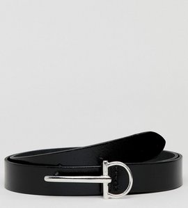 Read more about Asos smart skinny belt in black leather and silver buckle detail - black