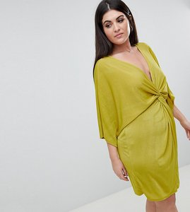 Read more about Missguided plus twist front mini dress - yellow