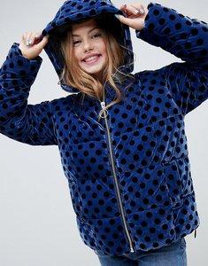 Read more about Asos design spot velvet padded jacket - navy
