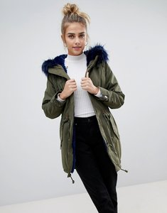 Read more about Bershka parka coat with faux fur hood and trim - khaki